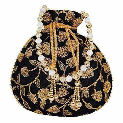 Ethnic Silk Potli bag Clutch Batwa Pouch with Embroidery and Metal Bead work Gift For Women