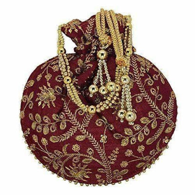 Ethnic Clutch Silk Potli Batwa Pouch Bag with Metal Bead work Gift For Women - Distacart