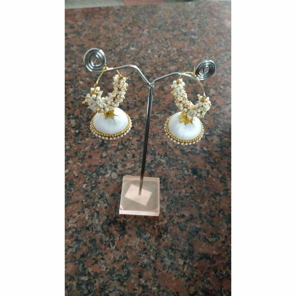 Gold and White Bead Earrings