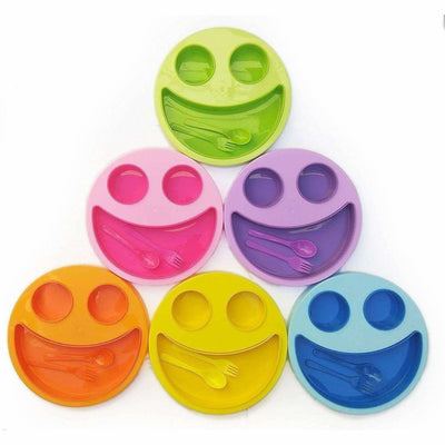 Multicolor Cute Big Smiley Plates for kids with Fork and Spoon - Distacart