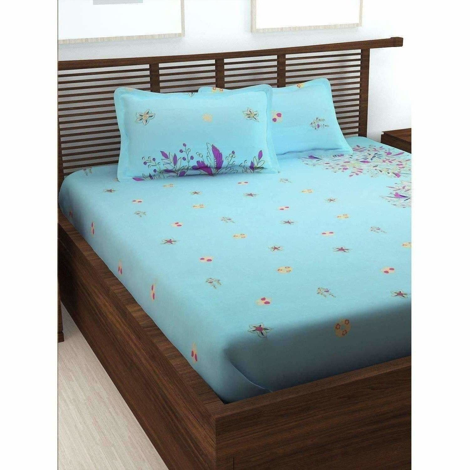 Cotton Double Bedsheet with 2 Pillow Covers