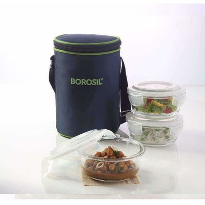 Microwavable Containers with Lunch Bag, 400ml, Set of 3