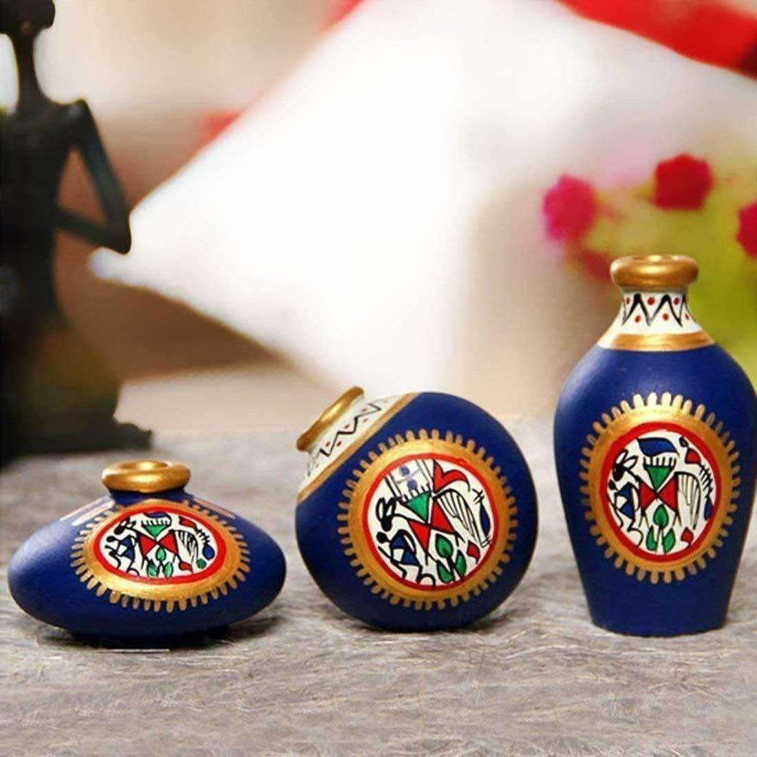 Hand-Painted Home Decorative Miniature Small Pots Set ( Set of 3 Mini Pots)