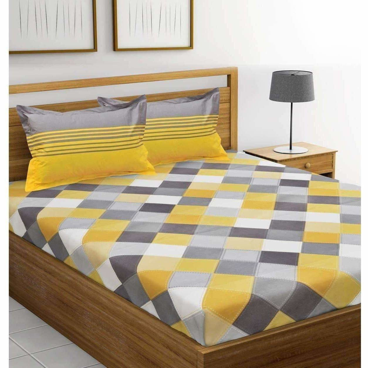Cotton Double Bedsheet with 2 Pillow Covers - Yellow and Grey
