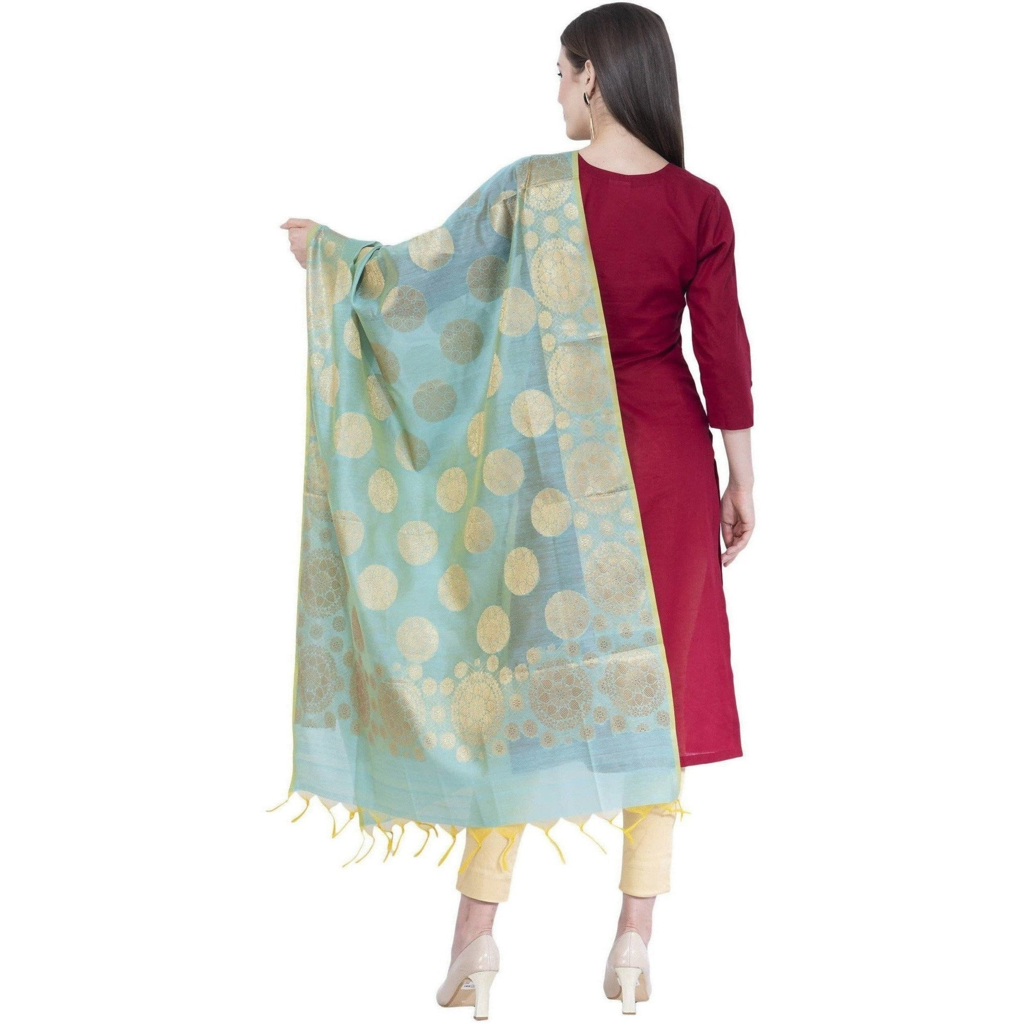 A R Silk Women's Zari Embroidery Chanderi Cotton Firozi Dupattas and Chunnis