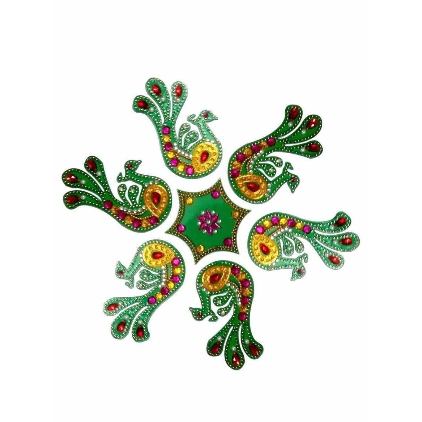Beautiful peacock Shaped Kundan Rangoli Design Green color For Floor Decoration and Pooja Decoration - Dista Cart