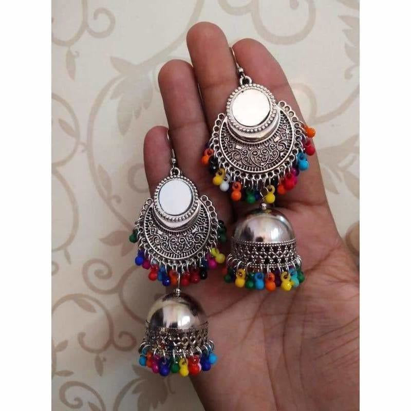 Stylish Fashion Mirror Jhumki Fancy Party Multi Color Beads Earrings
