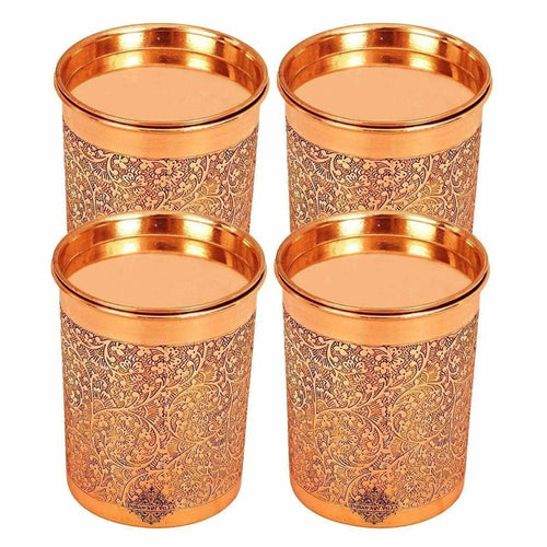 Copper Glass Tumbler with Lid  Embossed Design - Dista Cart