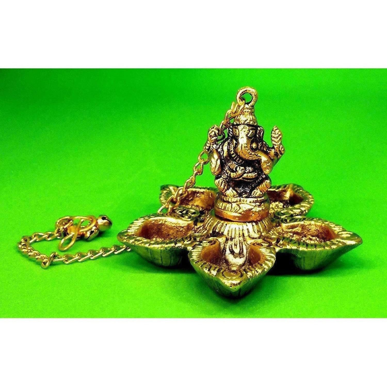 Hanging Ganesh - Handcrafted Golden Polished Brass