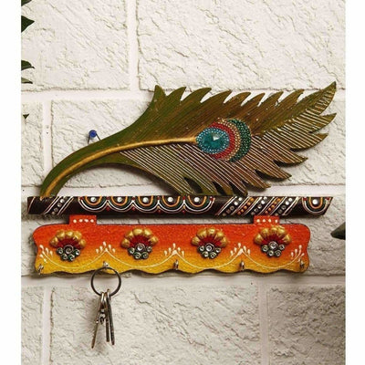 Jaipur Crafts Beautiful MorPankhi Wooden Key Holder