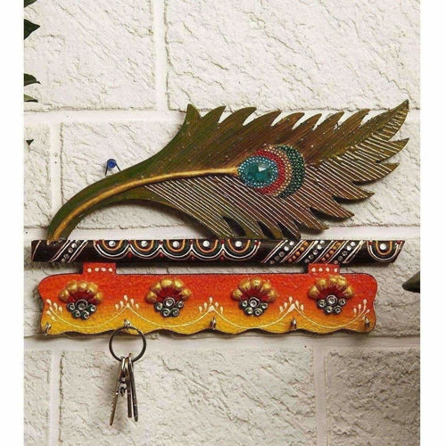JaipurCrafts Beautiful Mor Pankhi Wooden Key Holder (4 Hooks, 9 in x 6 in) - Dista Cart