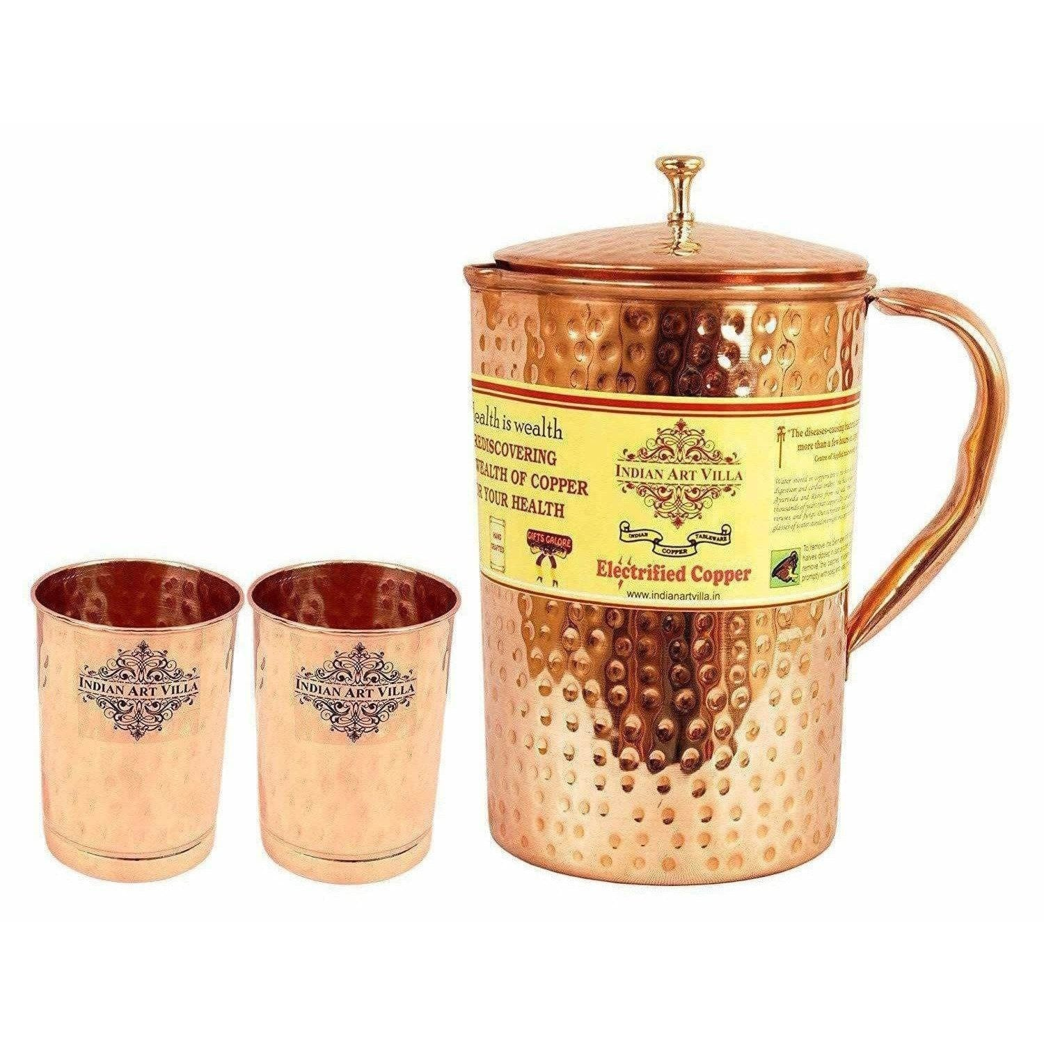 Copper Pitcher with 2 Glasses