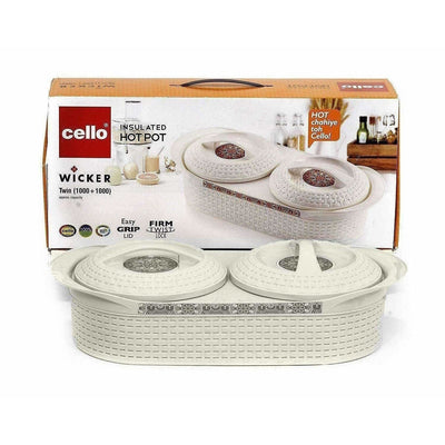 Cello Insulated Wicker Twin Hot Pot - Distacart