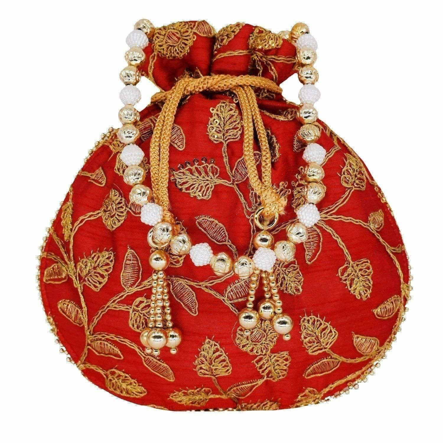Ethnic Silk Potli bag Clutch Batwa Pouch with Embroidery and Metal Bead work Gift For Women - Dista Cart