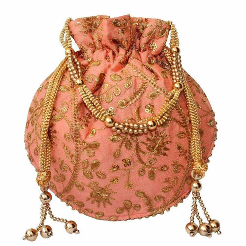 Ethnic Clutch Silk Potli Batwa Pouch Bag with Metal Bead work Gift For Women - Dista Cart