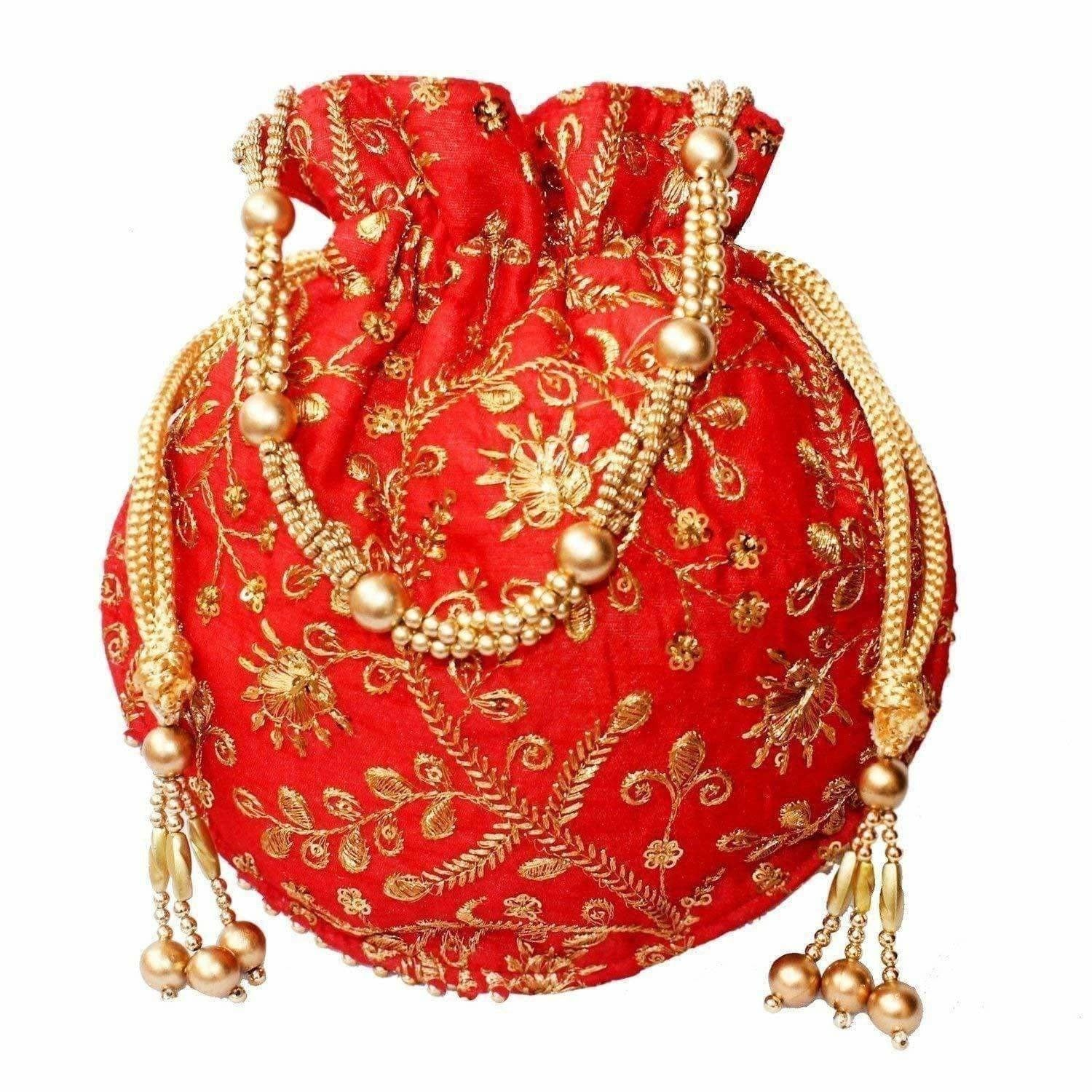 Ethnic Clutch Silk Potli Batwa Pouch Bag with Metal Bead work Gift For Women