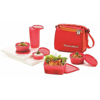 Signoraware Plastic Lunch Box Set with Bag Set, 5-Pieces, Red