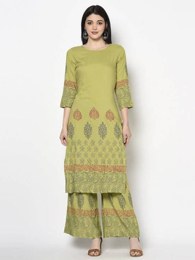 Aniyah Rayon Parrot Green Color Block Print Straight Kurta (AN-198K)