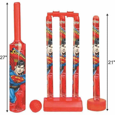 Cricket Set with 1 Plastic Bat & Ball, 4 Wickets, Base and Ball Cricket Kit - Dista Cart