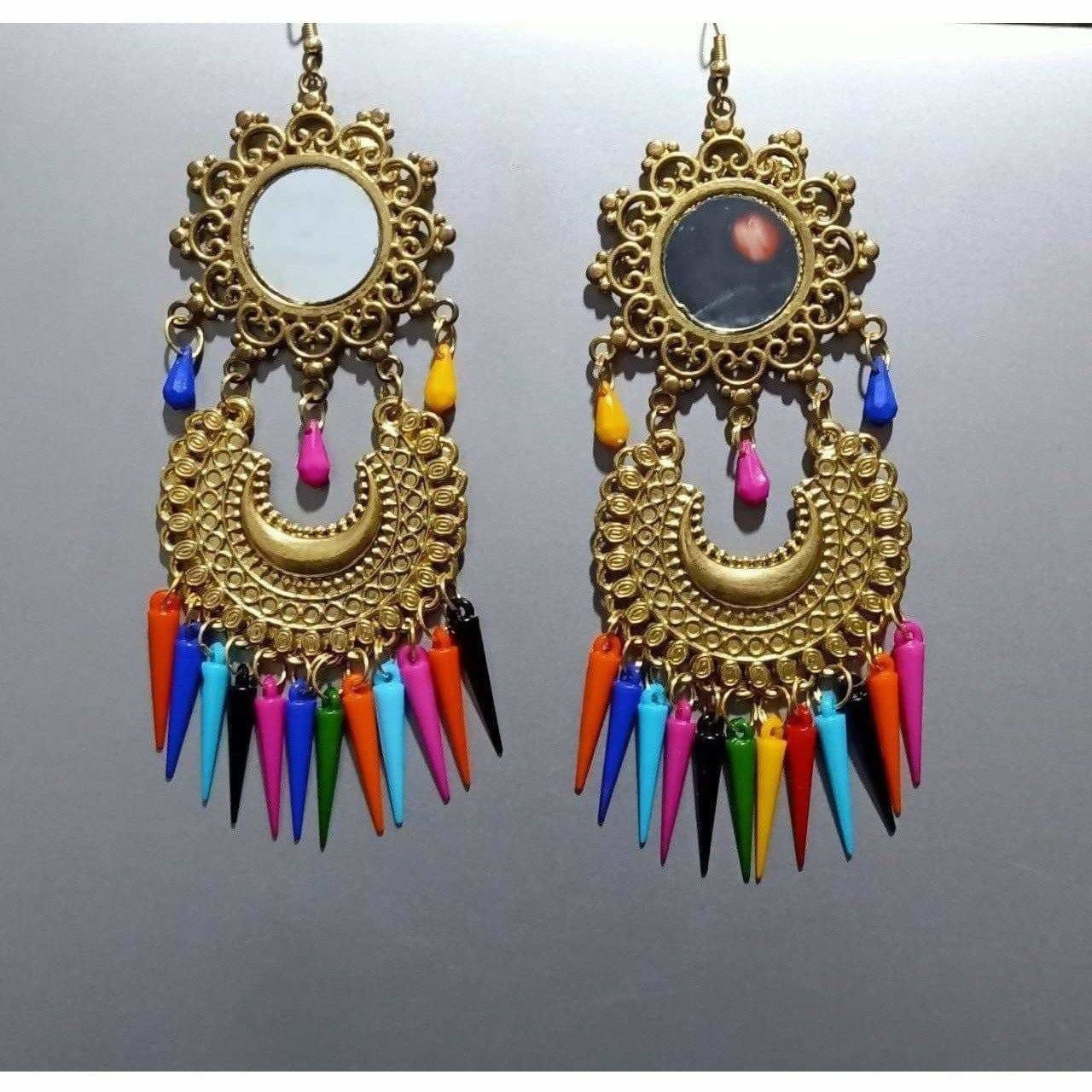 Beautiful Latest Gold Color Chandbali Afghani Earrings With Multicolor Pearls