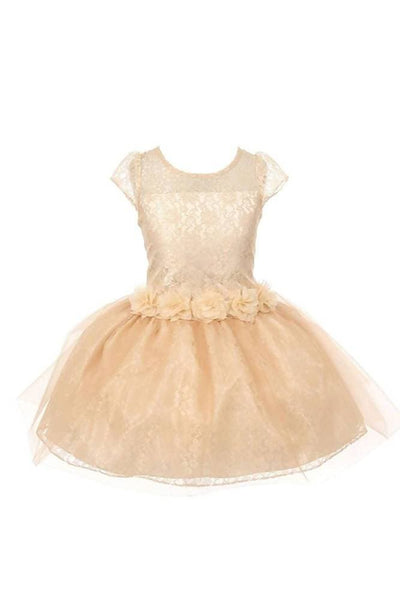 Asmaani Baby Girl's Gold Color Satin A-Line Frock (AS-DRESS_22132) - Distacart