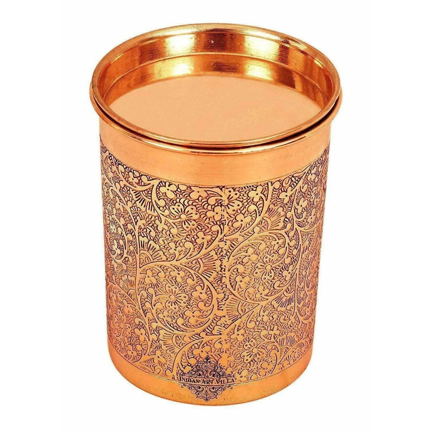 Copper Glass Tumbler with Lid  Embossed Design