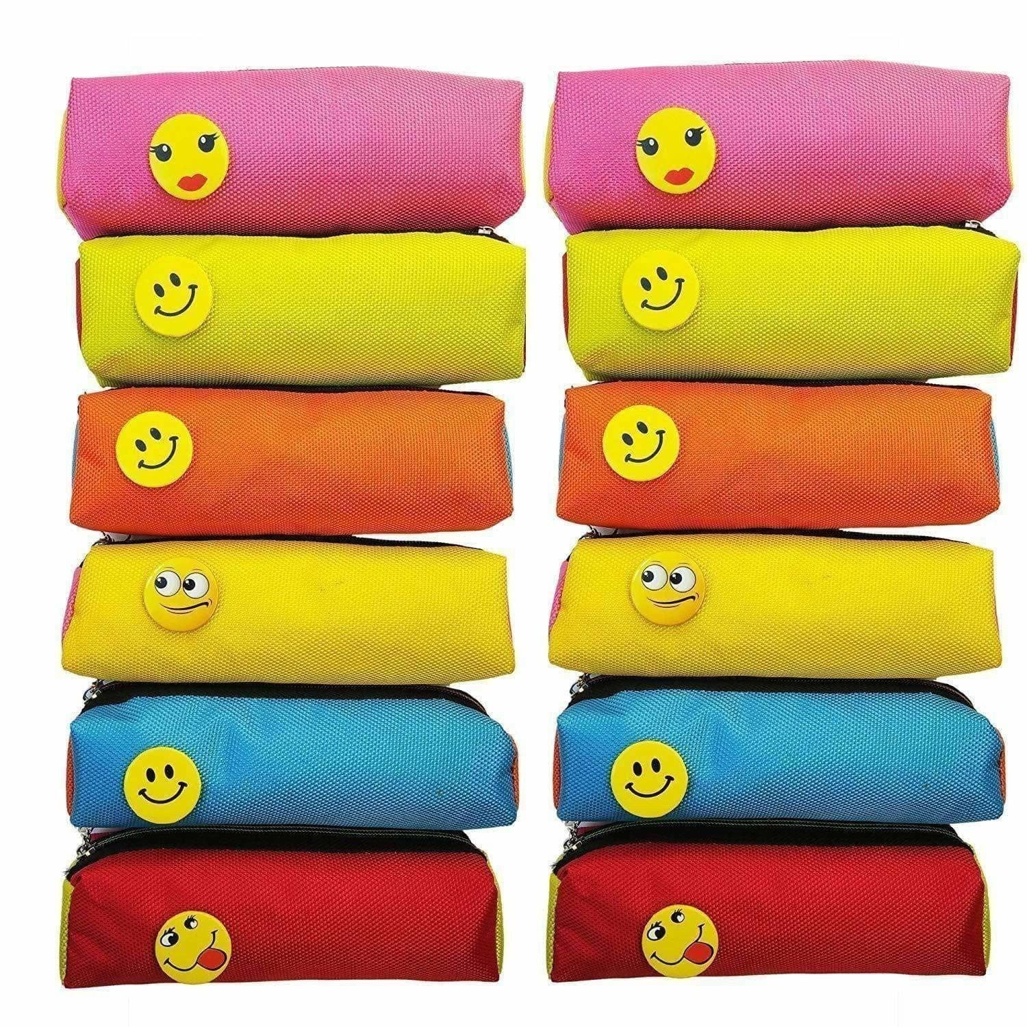 Bright Colour Multipurpose Smiley Pen Pencil Pouch Case