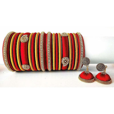 Red Grand Wedding Silk Thread Bangle Set with Jhumka Ear rings - Distacart