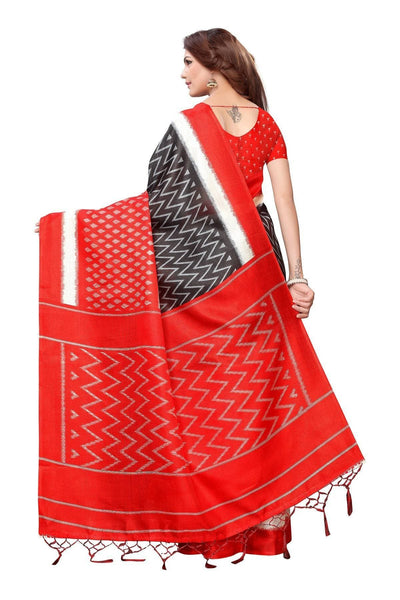 Vamika Red Kalamkari With Jhalar Khadi Silk Saree Snap Red