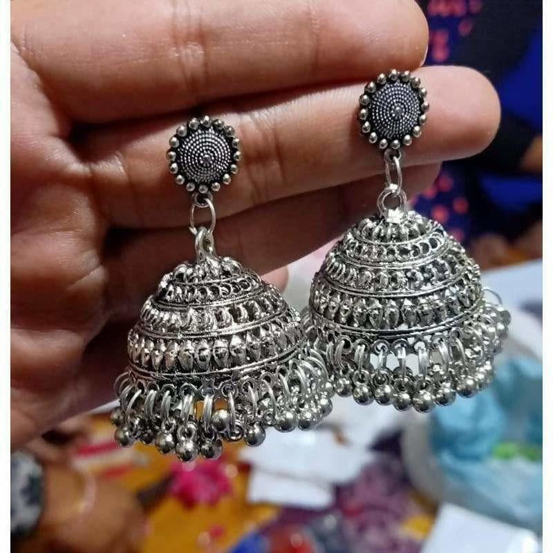 Round Shape With Silver Hanging Jhumkas