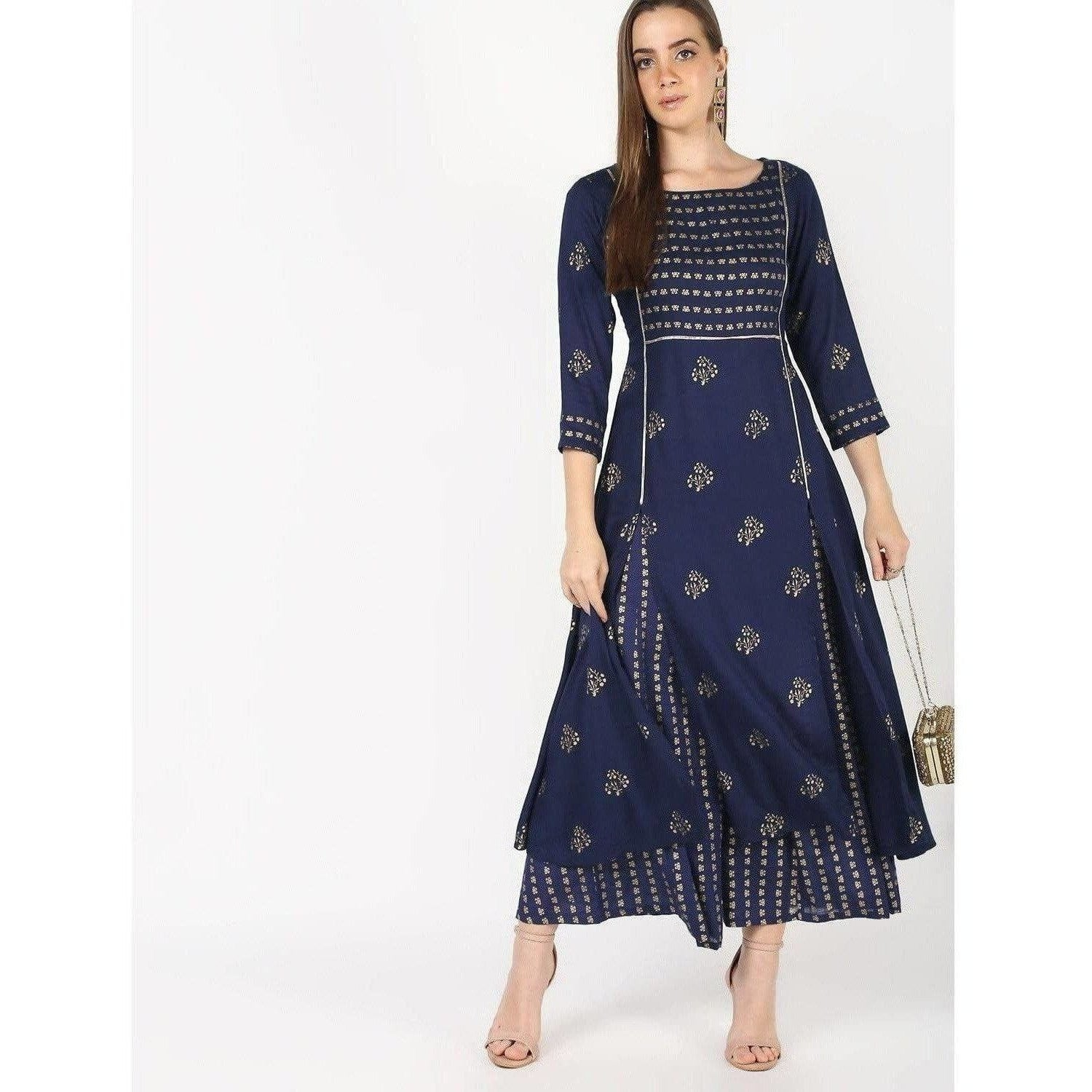 Cheera Flair A-Line Kurta With Front Slit Cut With Kalidar Plazo With Foil Print