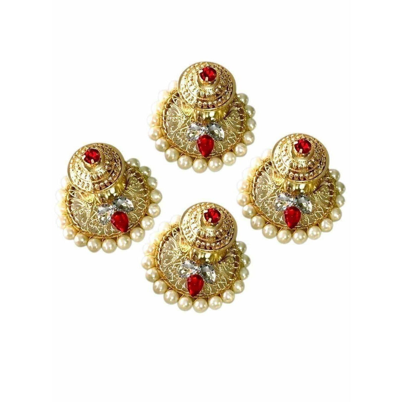 Fancy Kumkum Holders with Pearls and Kundans - 1 Piece