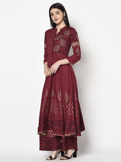Aniyah Rayon Maroon Color Block Print Anarkali Palazzo Set (AN-181K)