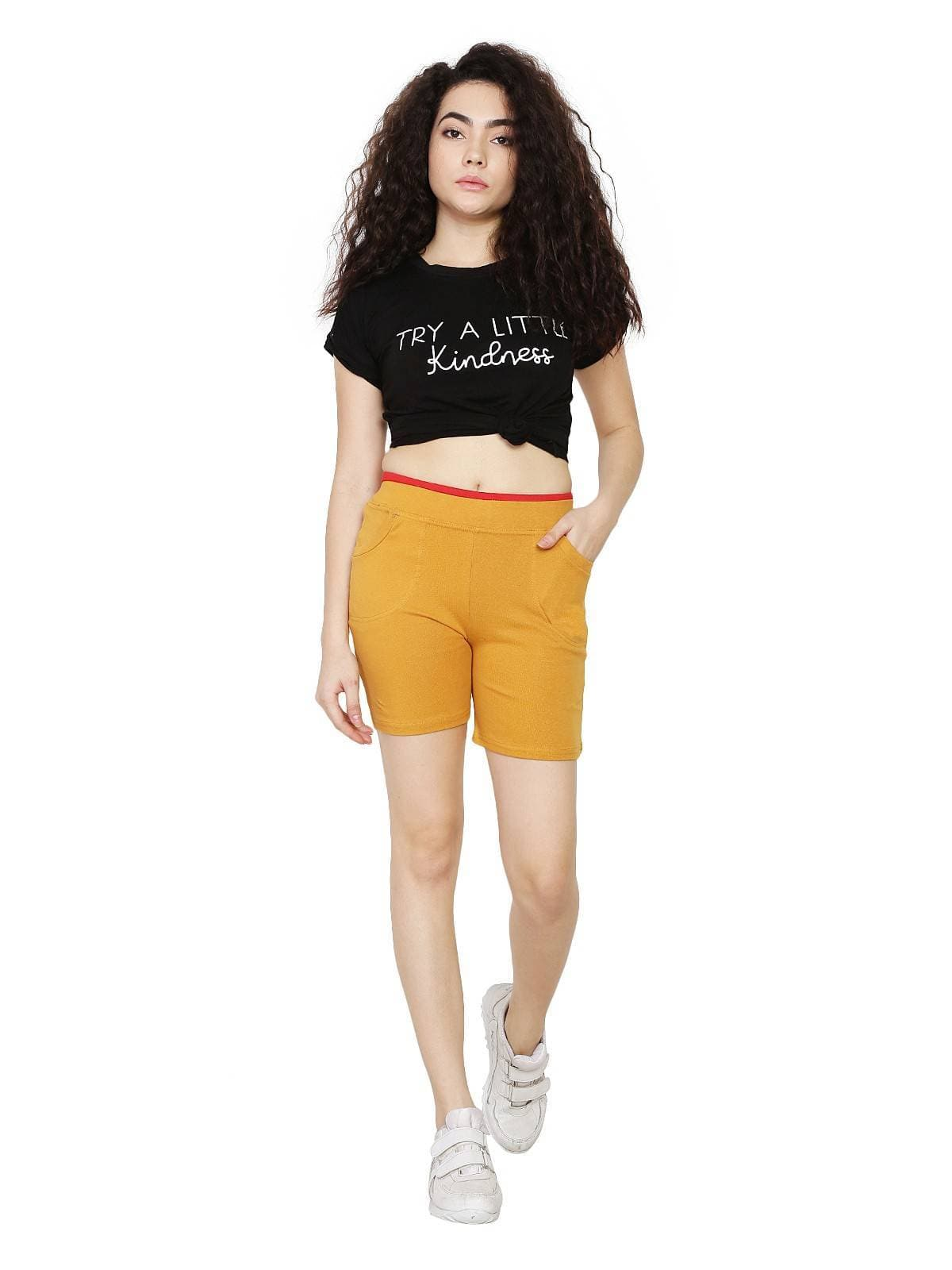 Asmaani Mustard Color Short Pant with Two Side Pockets