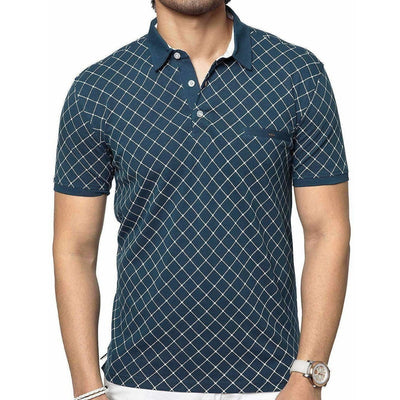 Men's Cotton Printed Green Polo Tshirt Half Sleeve