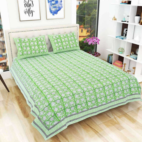 Hand Block Printed Jaipuri Double 90x108 Inches Bedsheet/Bedspread with 2 Pillow Covers