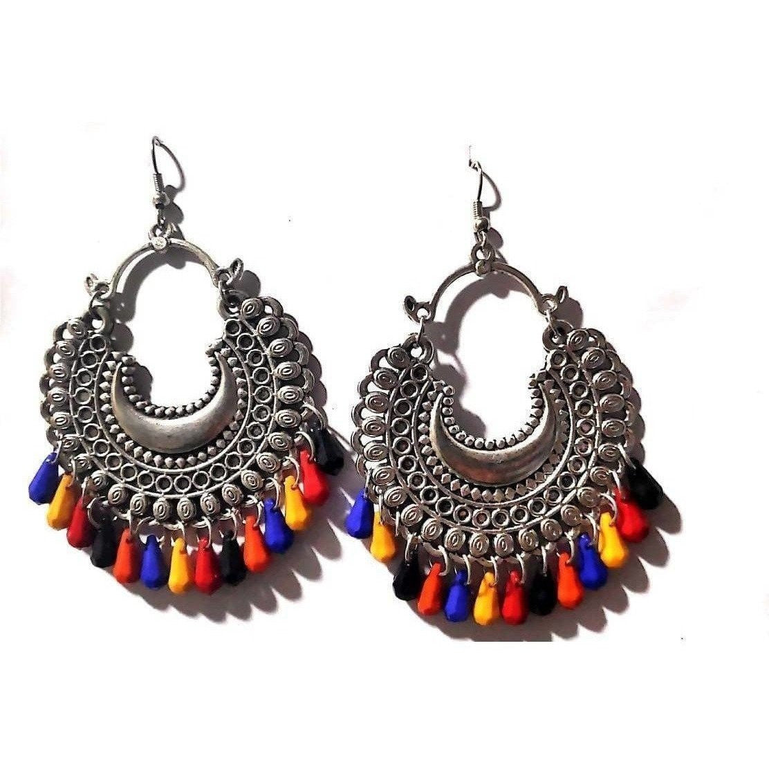 Multi Color Beads German Silver Plated Antique Finish Alloy Chandbali Earrings
