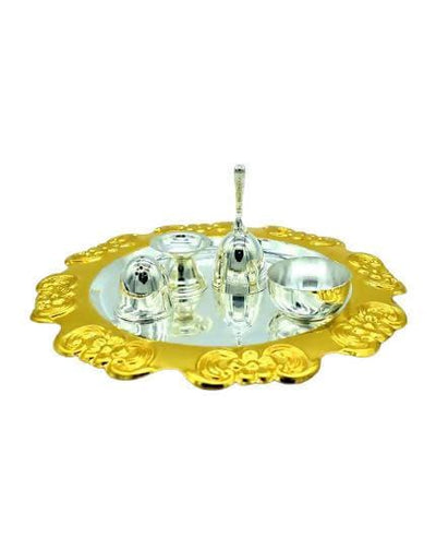 Puja N Pujari Gold & Silver Plated Craft Design Pooja Thali Set