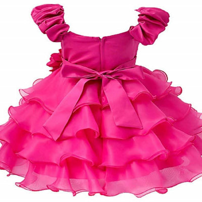 Asmaani Baby Girl's Pink Color Satin Knee Length Frock (AS-dress_22084 ) - Distacart