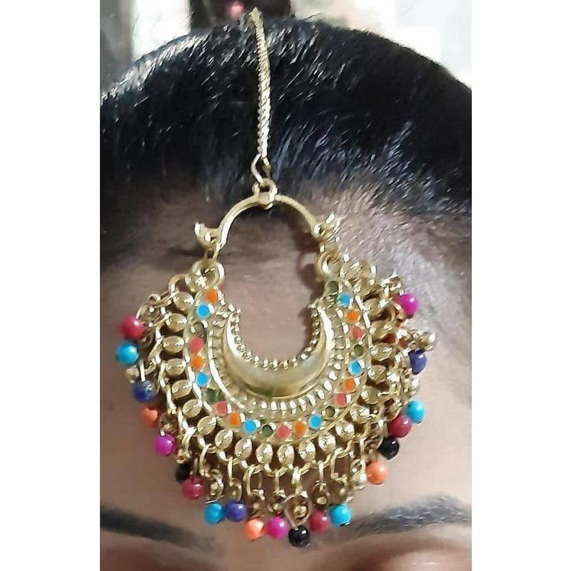 Latest Fashion Multicolor Pearls And Design Maang Tikka