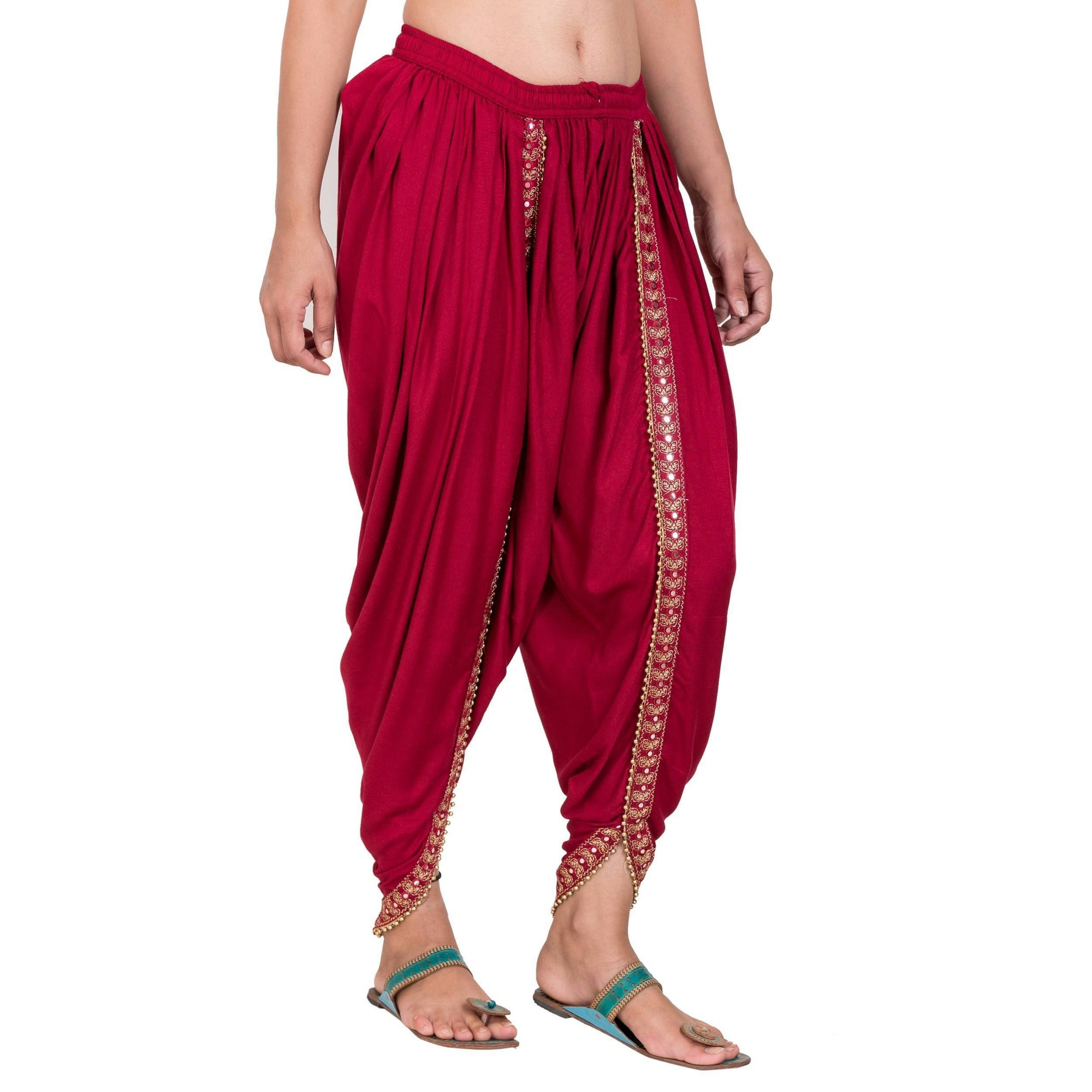 Asmaani Maroon color Dhoti Patiala with Embellished Border