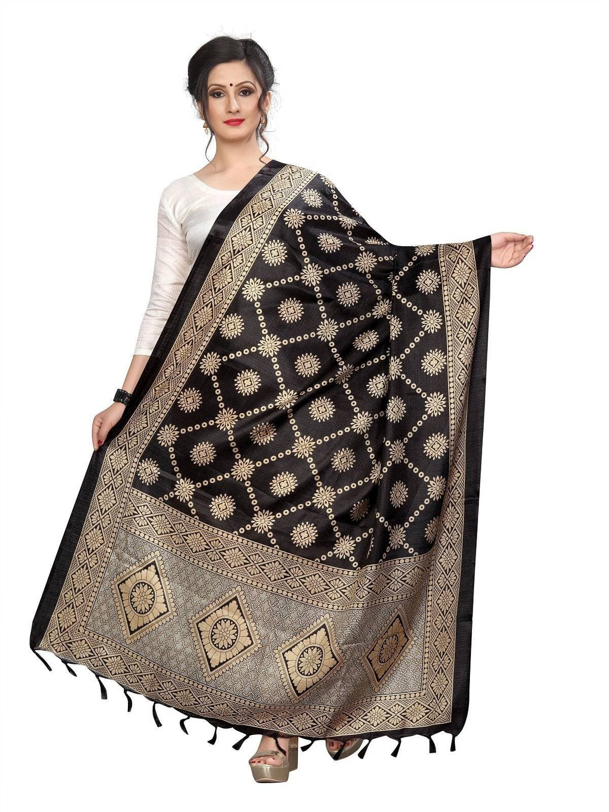 Vamika Latest Fashion Black Printed Khadi Bhagalpuri Dupatta