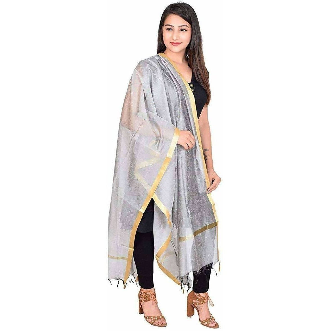Women's Silk Plain Banarasi Golden Border Dupatta
