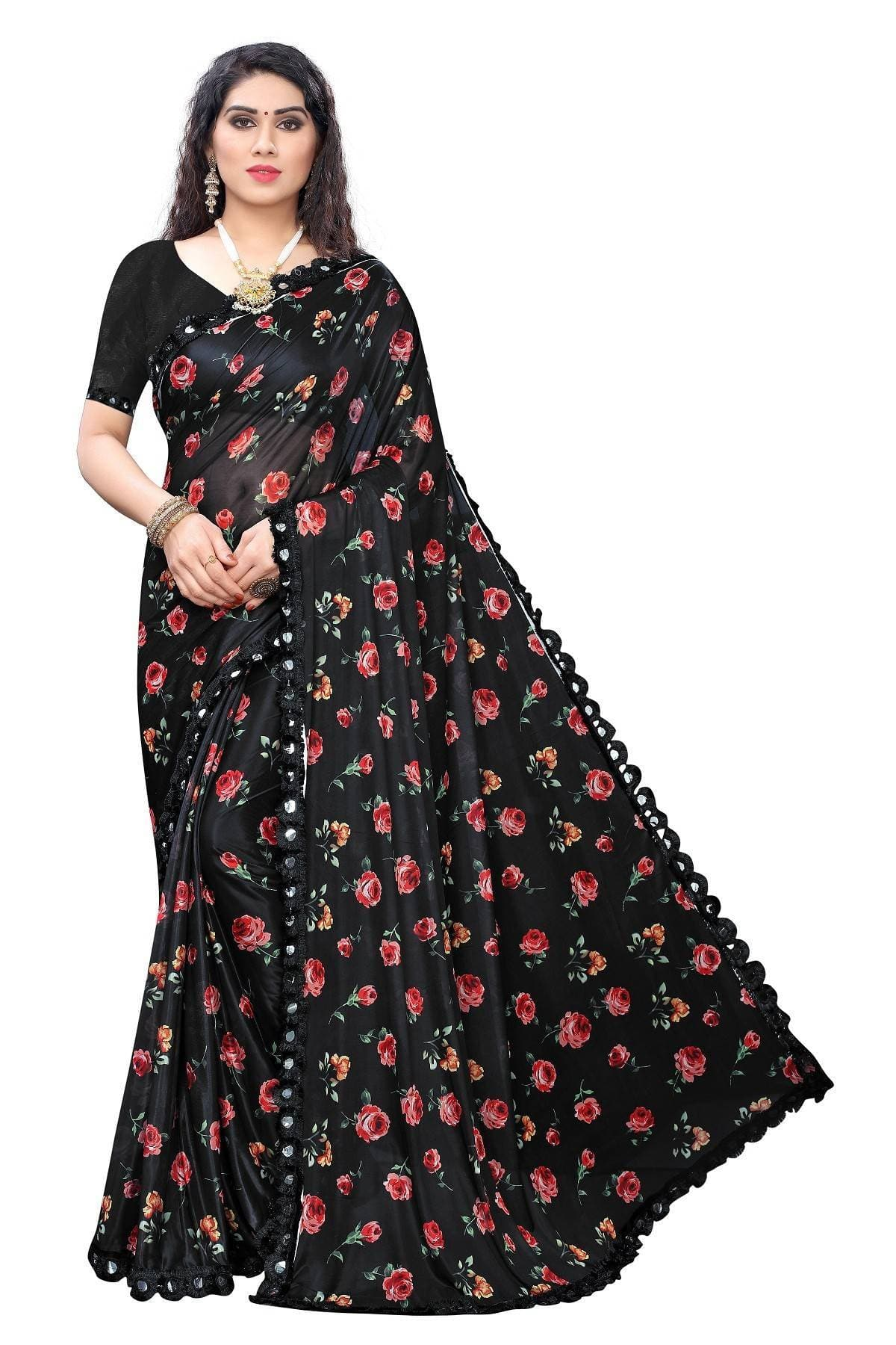 Vamika Black Lycra Printed Latest Saree