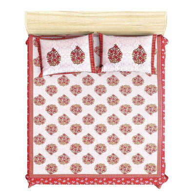 Queen Size 230x270 Cms Jaipuri Hand Block Printed Traditional 144TC Cotton Bedsheet with 2 Pillow Covers