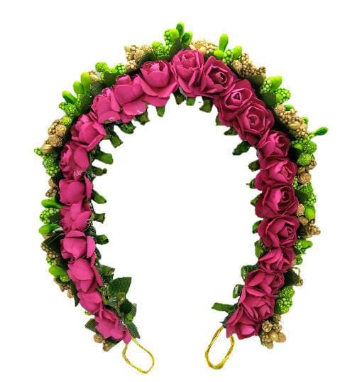 Pink, Green & Golden Flower Hair Gajra
