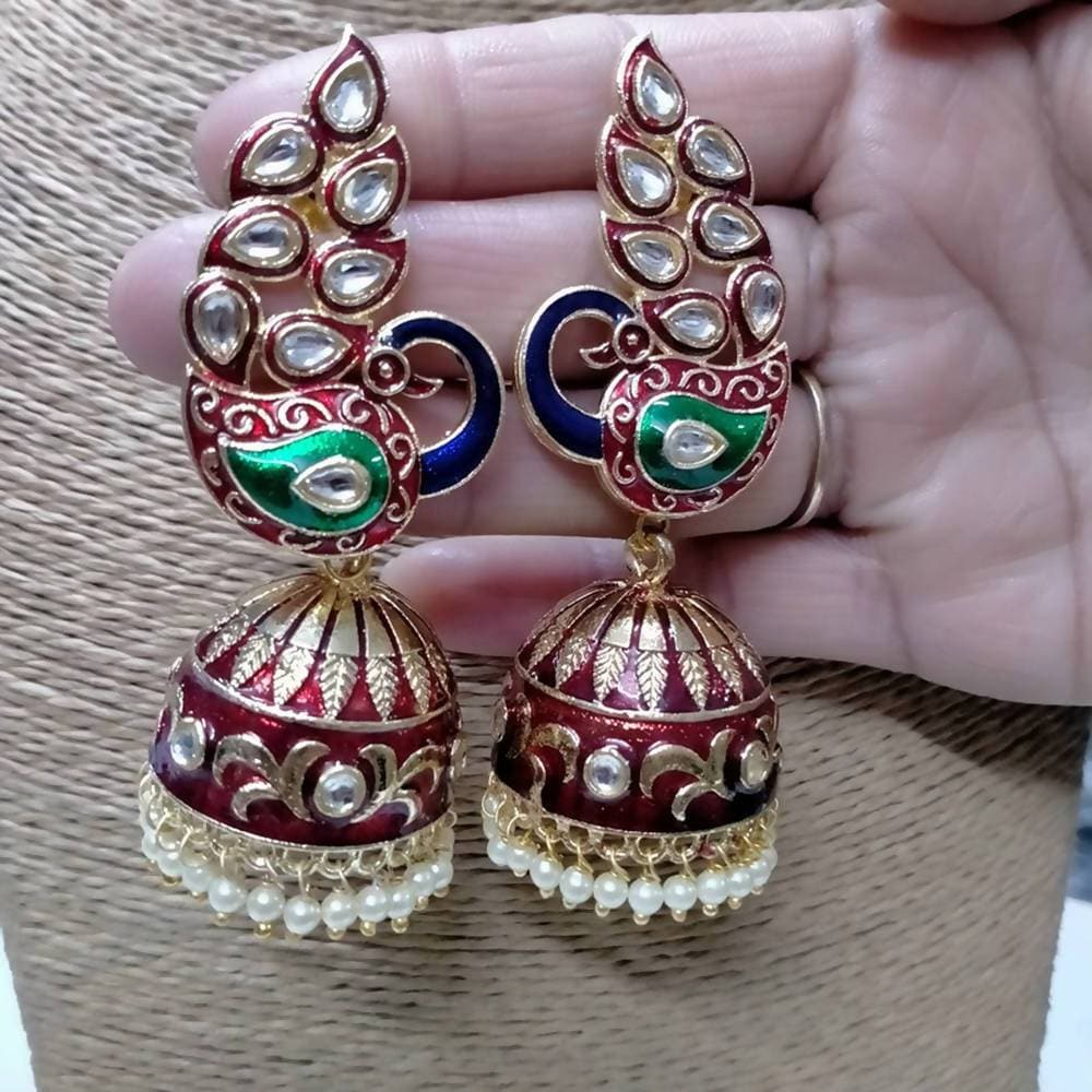 Megha Creations Peacock Jhumka Red Colour Earrings - Distacart