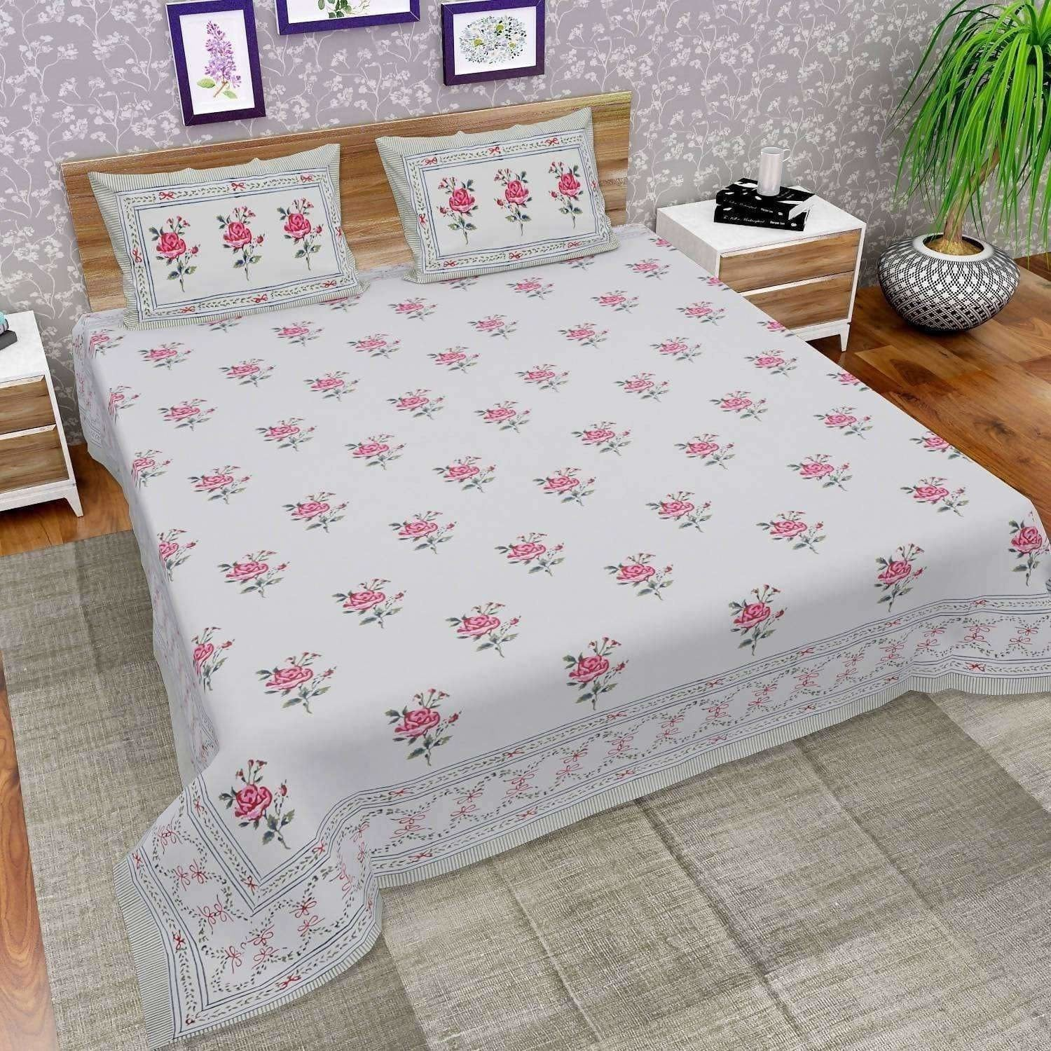 Hand Block Printed Double/Queen 90x108 Inches Bedsheet/Bedspread with 2 Pillow Covers