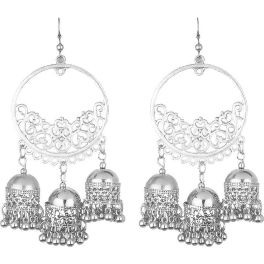 Stylish Traditional Wear Round Shape With Hanging Jhumkas Earrings