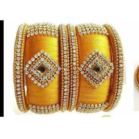 Yellow Color Silk Threaded with Diamond shape White Stone Bangles